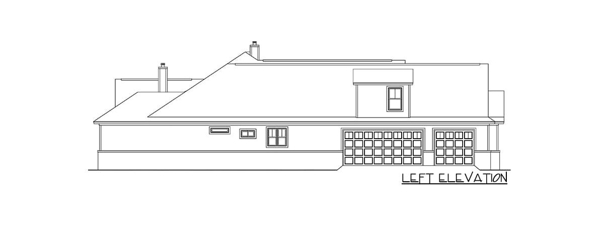 Left elevation sketch of the two-story 6-bedroom craftsman home.