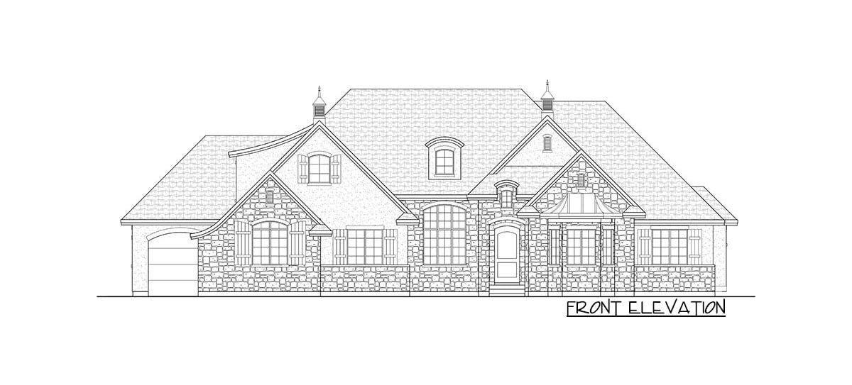 Front elevation sketch of the two-story 6-bedroom craftsman home.