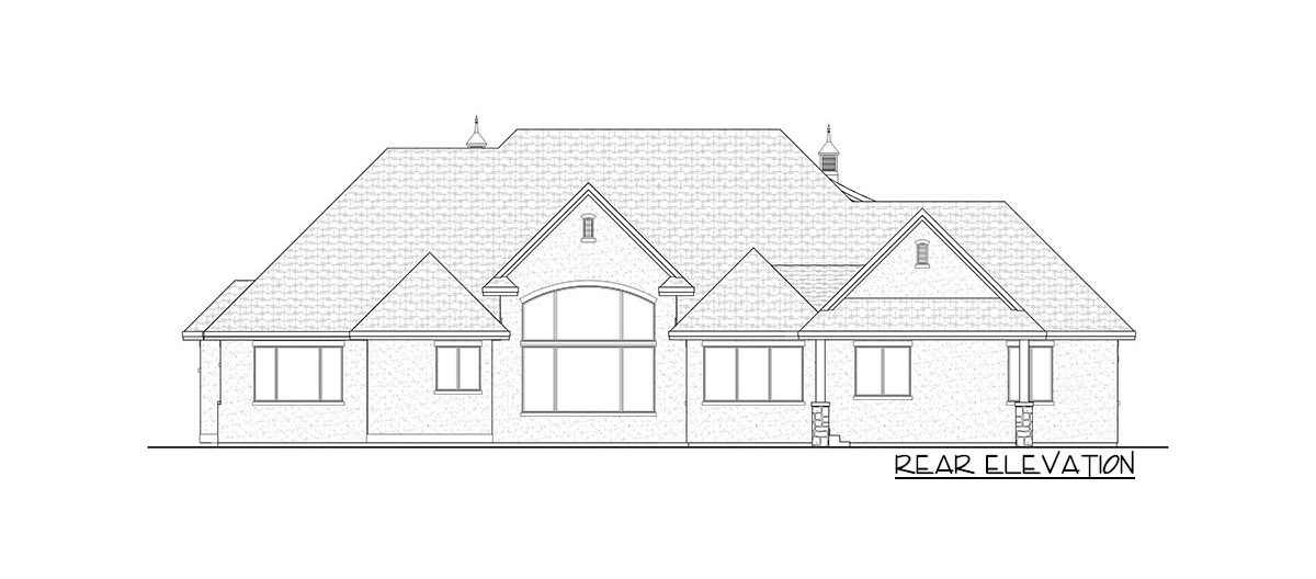 Rear elevation sketch of the two-story 6-bedroom craftsman home.