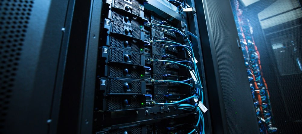 A close look at the server of a network of computers.