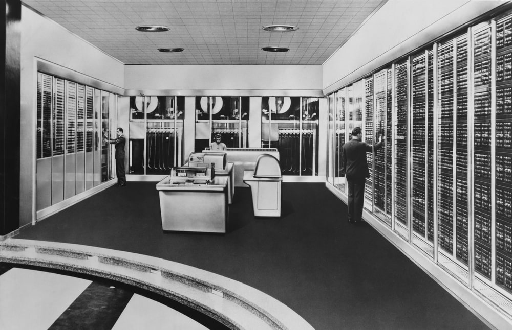 A large mainframe computer that spans the whole room.