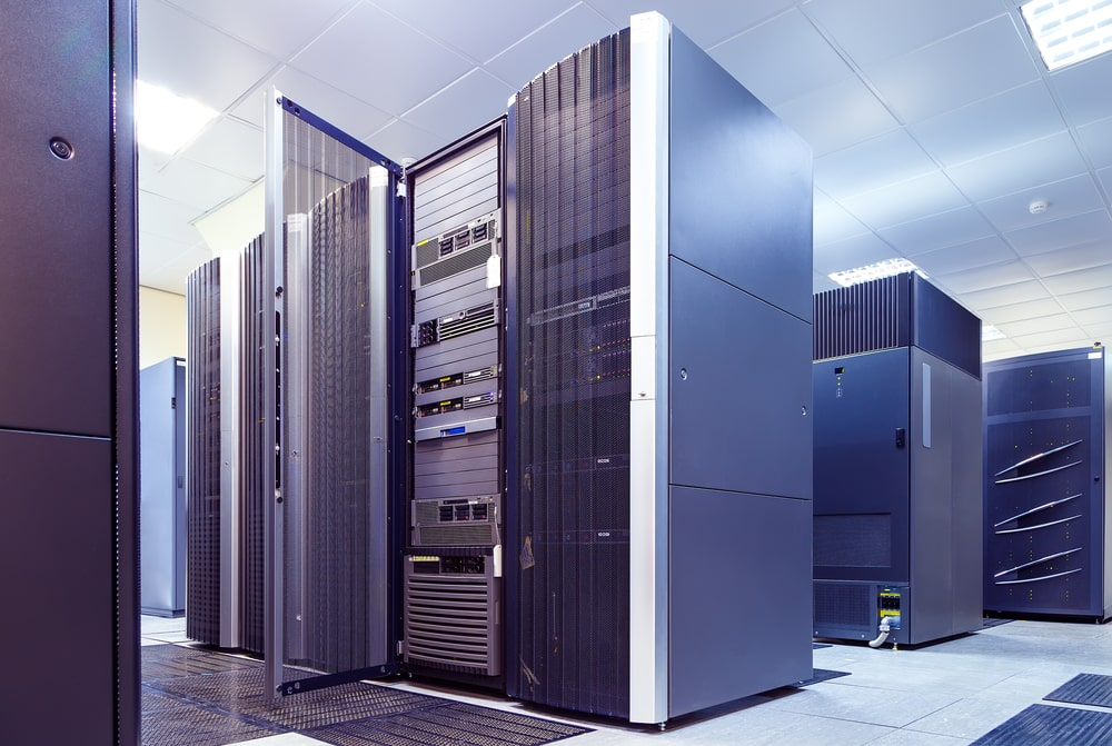 Supercomputer clusters at a data center.