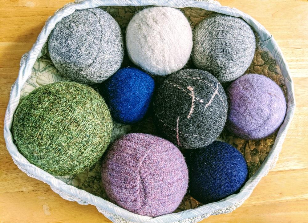 A close look at various dryer balls.