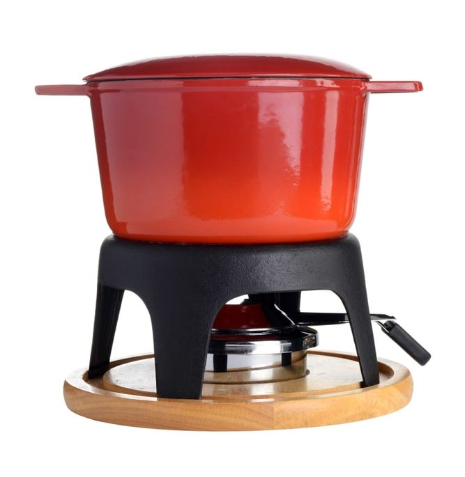 Red enameled cast iron fondue pot
