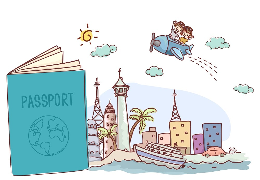 A colorful illustrative representation of children traveling with a passport.
