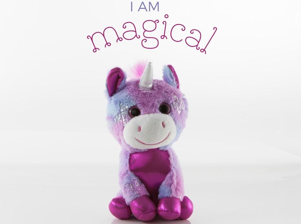 A colorful unicorn stuffed toy.