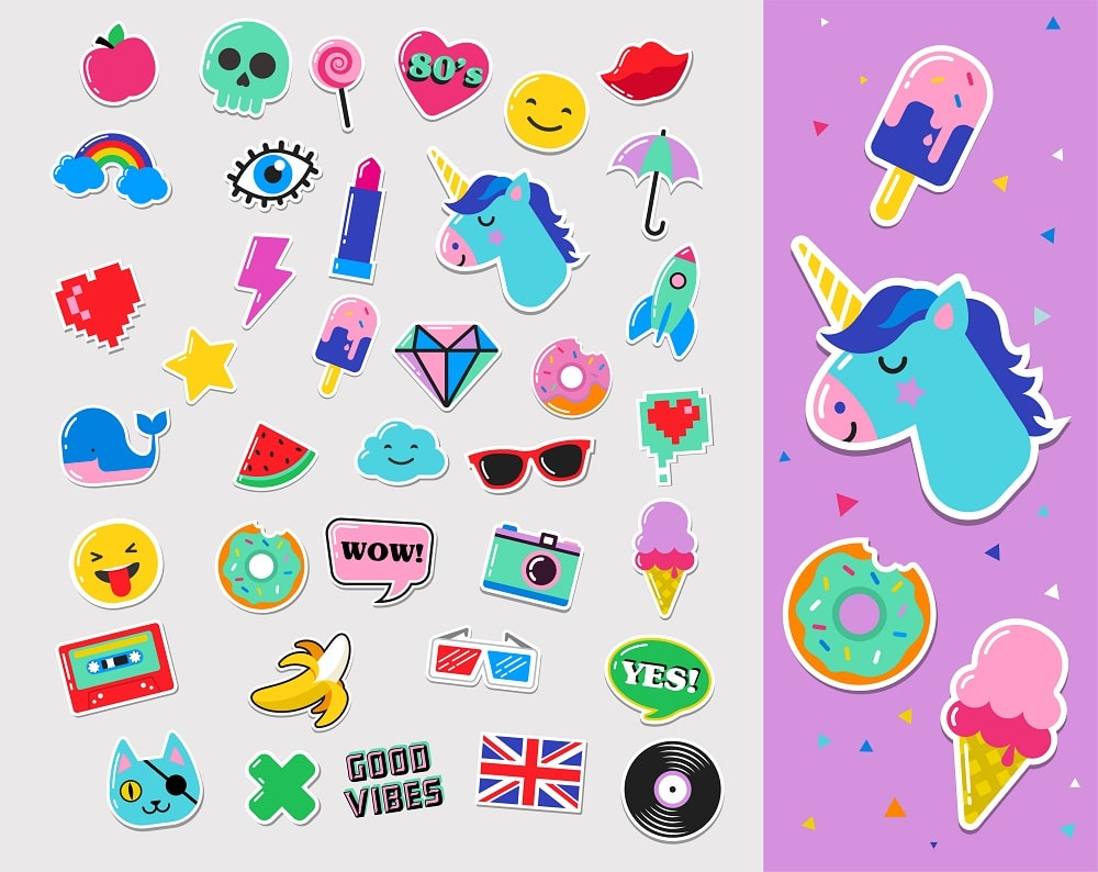 A spread of colorful and fun stickers for children.