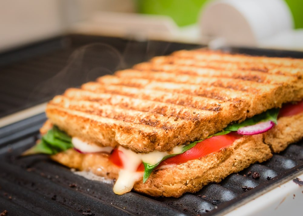A close look at a grilled sandwich.