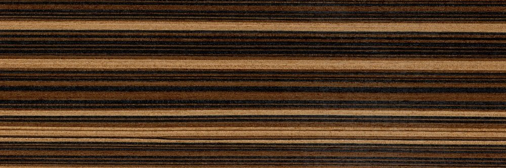 A close look at the zebrano wood grains.