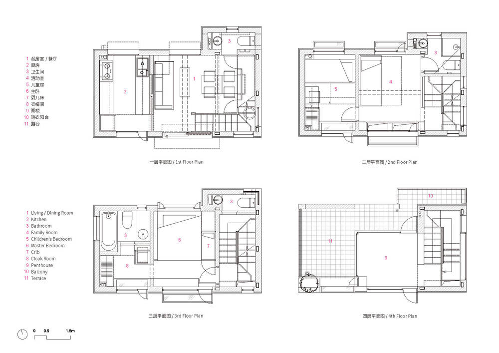 This is an illustration of the first to fourth level floor plan.
