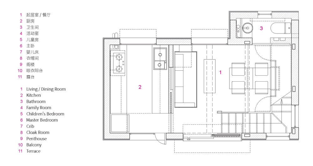 This is an illustration of the first level floor plan with annotations.