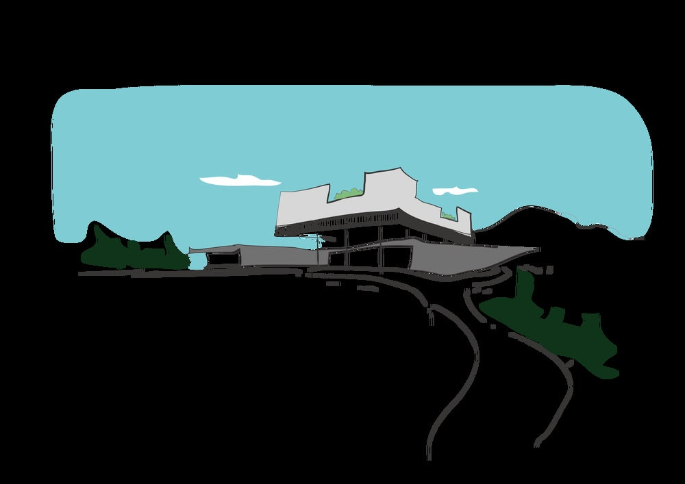 This is an illustrative sketch of the building showcasing the terrain, the road and the structure.