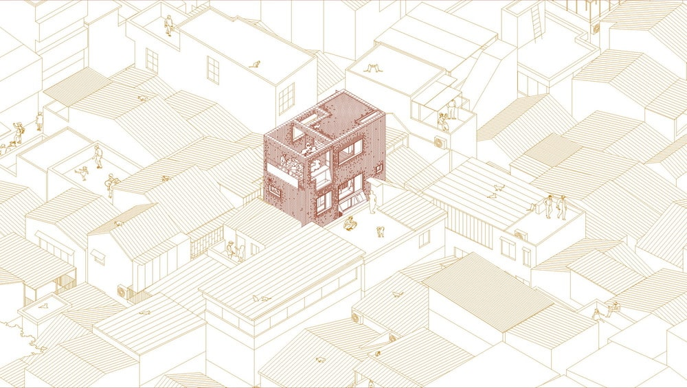 This is an illustration of the south and west axonometric diagram of the house.