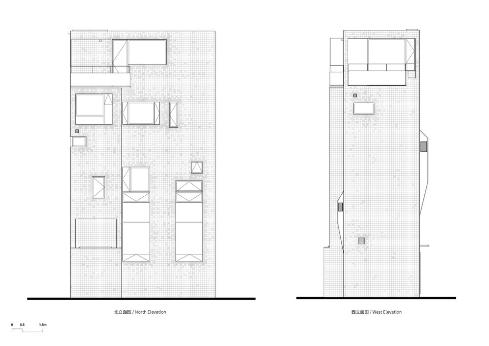 This is an illustration of the north and west elevations of the house.