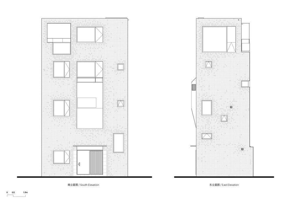 This is an illustration of the south and east elevations of the house.