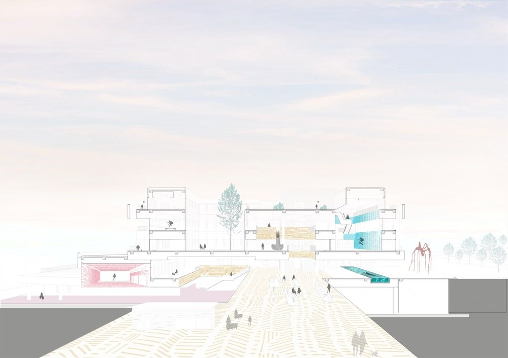 This is a sketch illustration of the building showcasing the different outdoor areas.