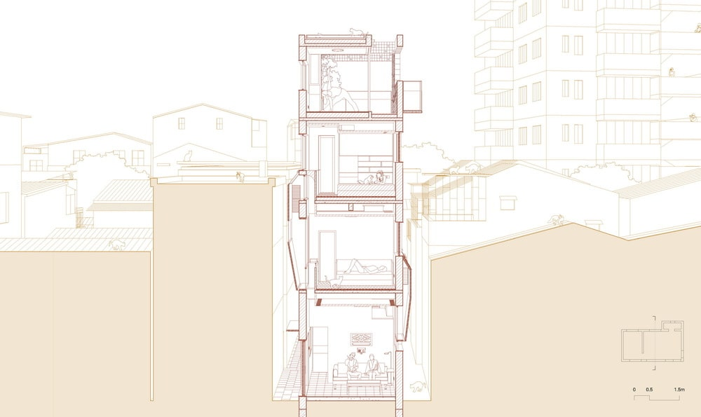 This is an illustration of the house's cross section elevation.