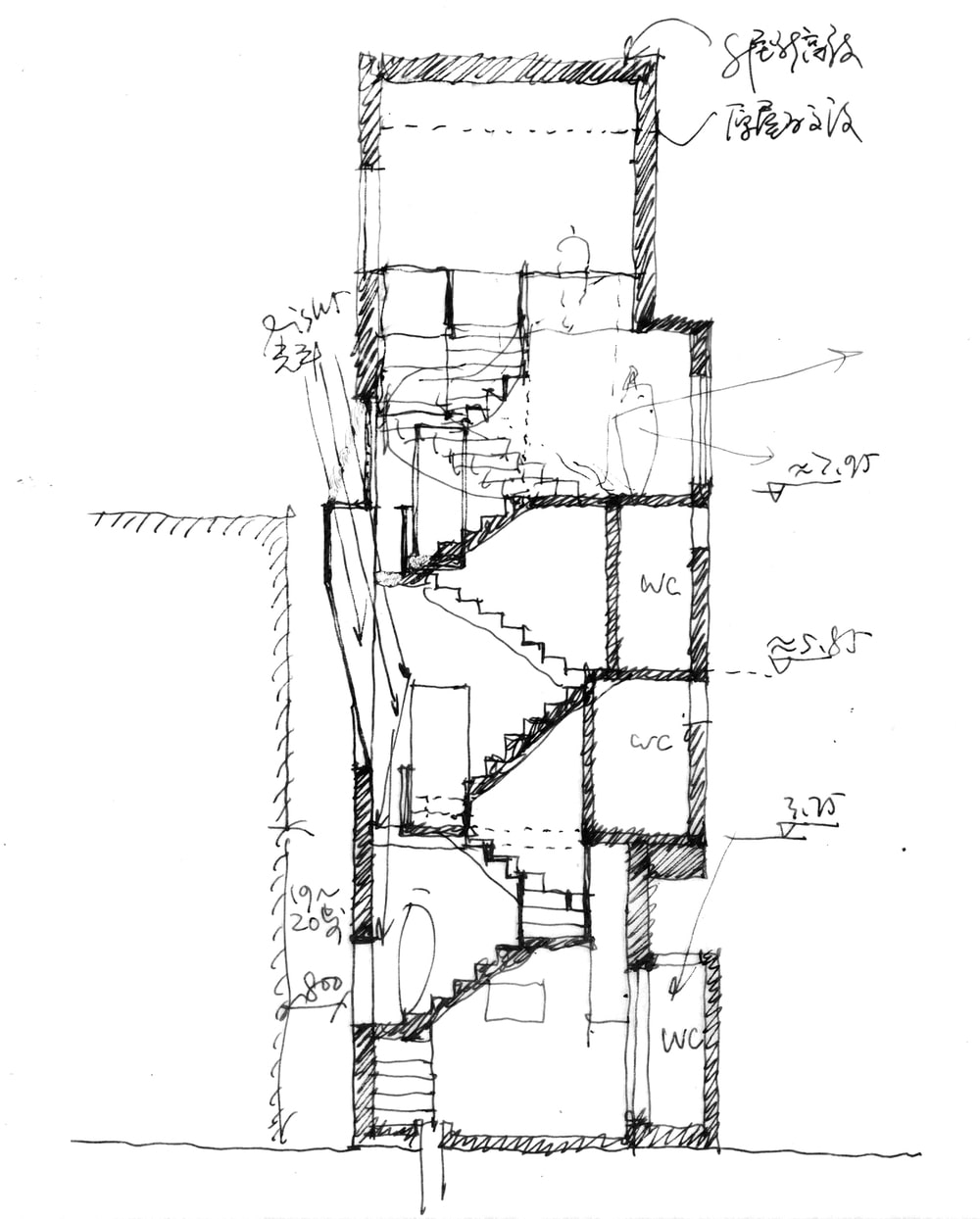 This is an illustration of the house's cross section elevation showcasing the stairs.
