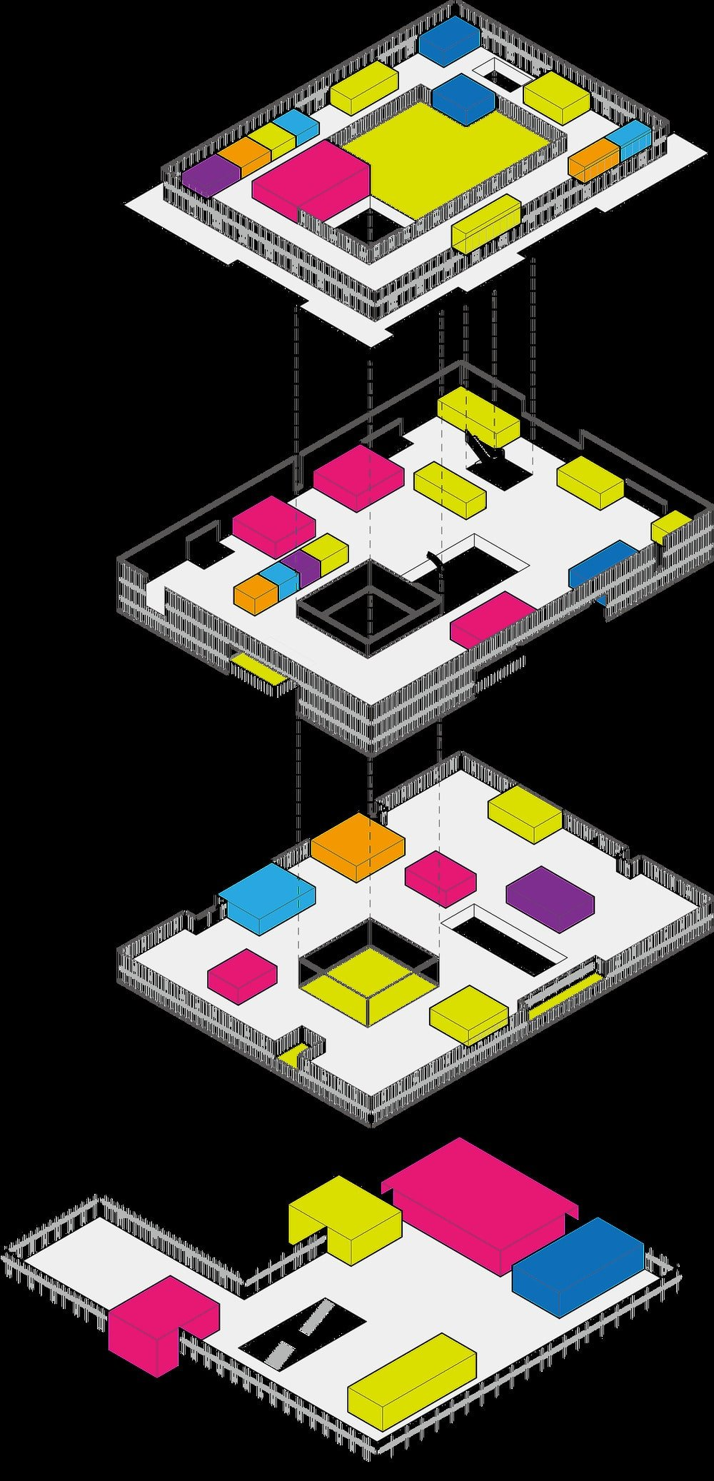 This is an illustration of the four levels of the building with the different sections within identified with various colors.