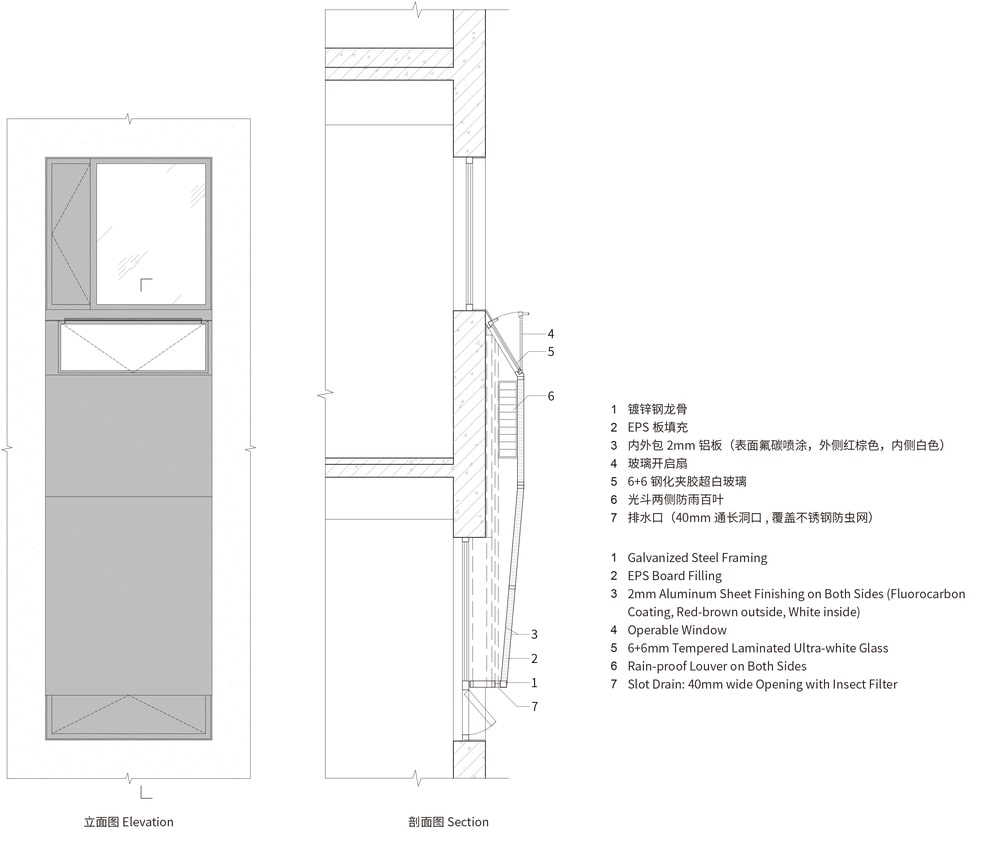 This is an illustration of the section of the house showcasing the different materials used.