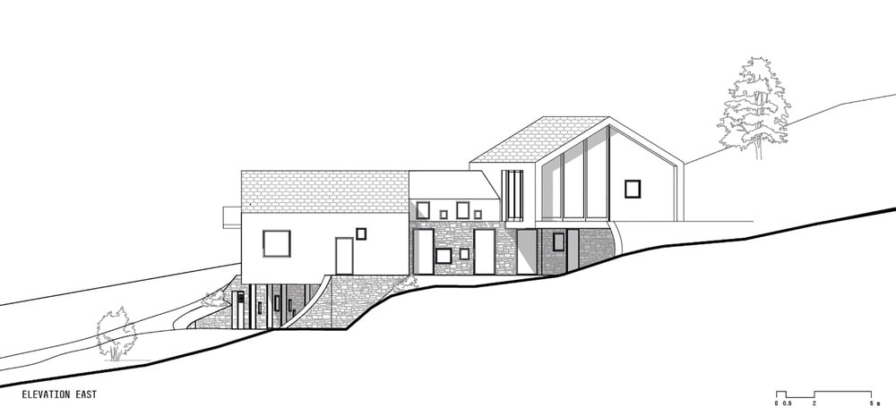 This is an illustration of the house's elevation and surrounding terrain.