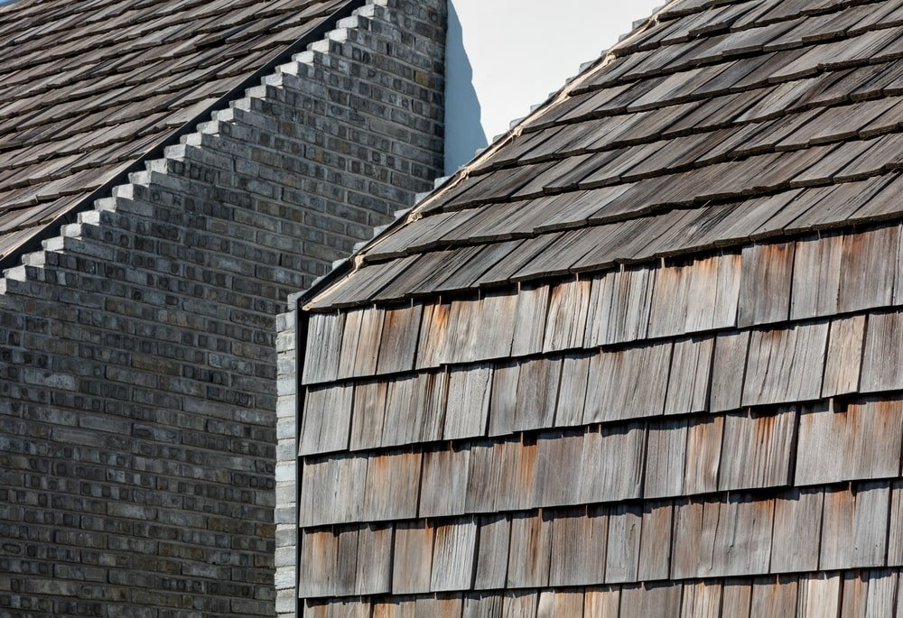 This is a close look at the house exterior walls with the same material as the roof.