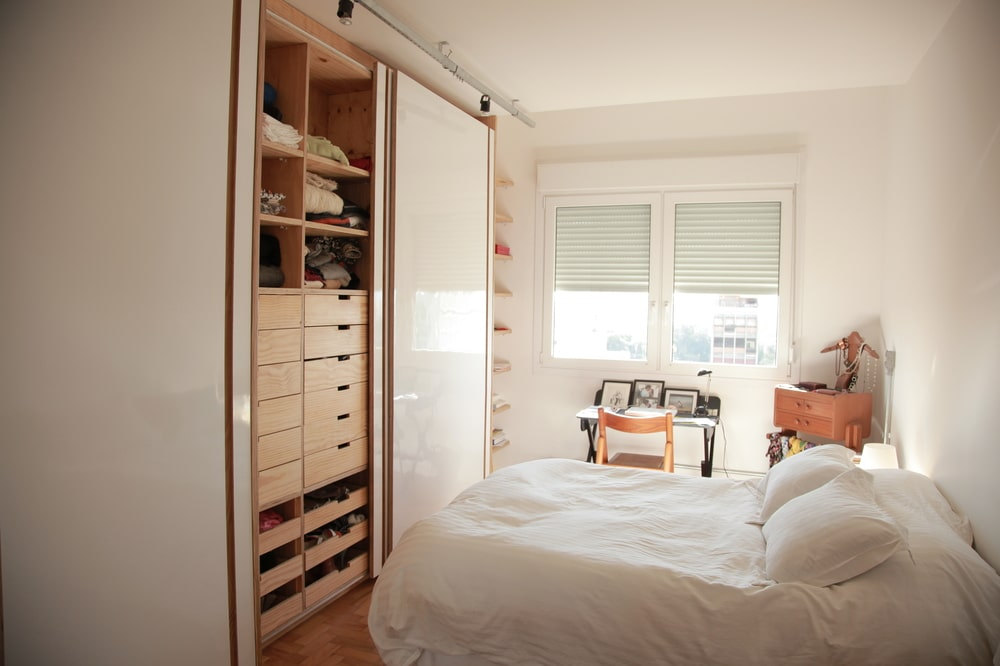 The bedroom also has a small set of window on the side just above the study area.