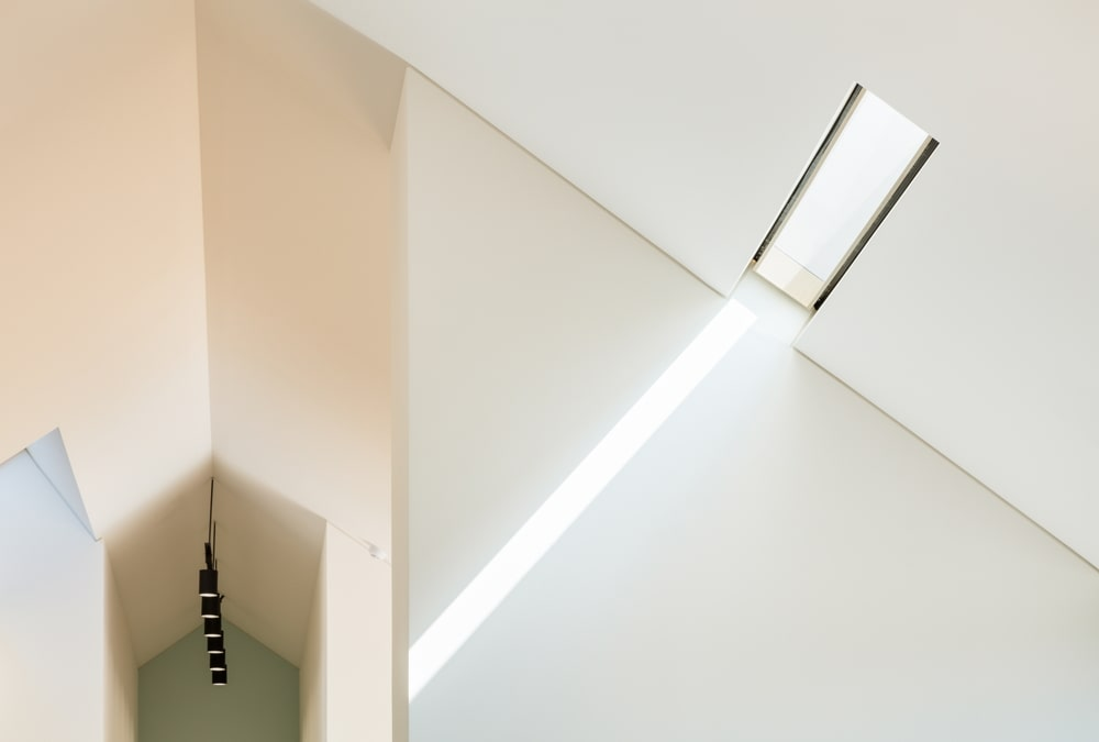 This is a close look at the thin skylight on the cathedral ceiling that brings in natural light.