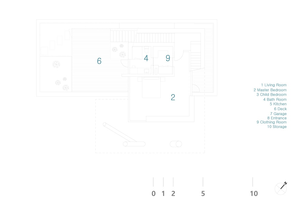 This is an illustration of the house's floor plan with numbered labels to identify the various sections of the house.