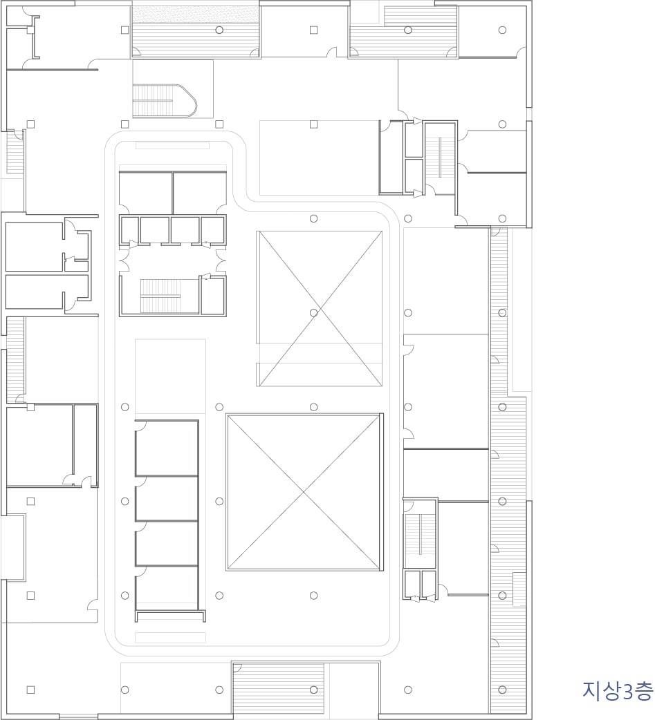 This is the illustration of the third level floor plan for the building.