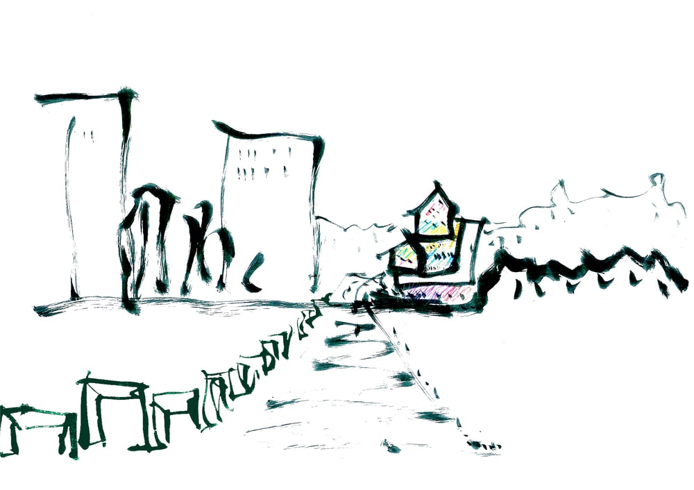 This is a sketch that inspired the concept of the house design.