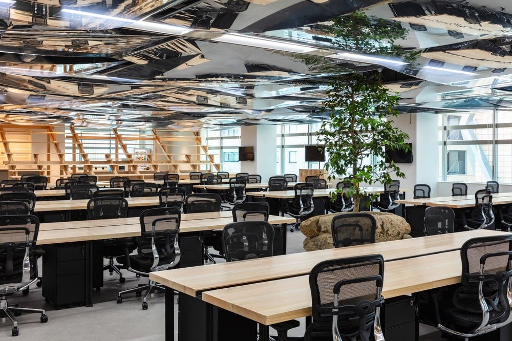 The large open area is adorned with a alrge potted plot in the middle that seems to go through the ceiling.