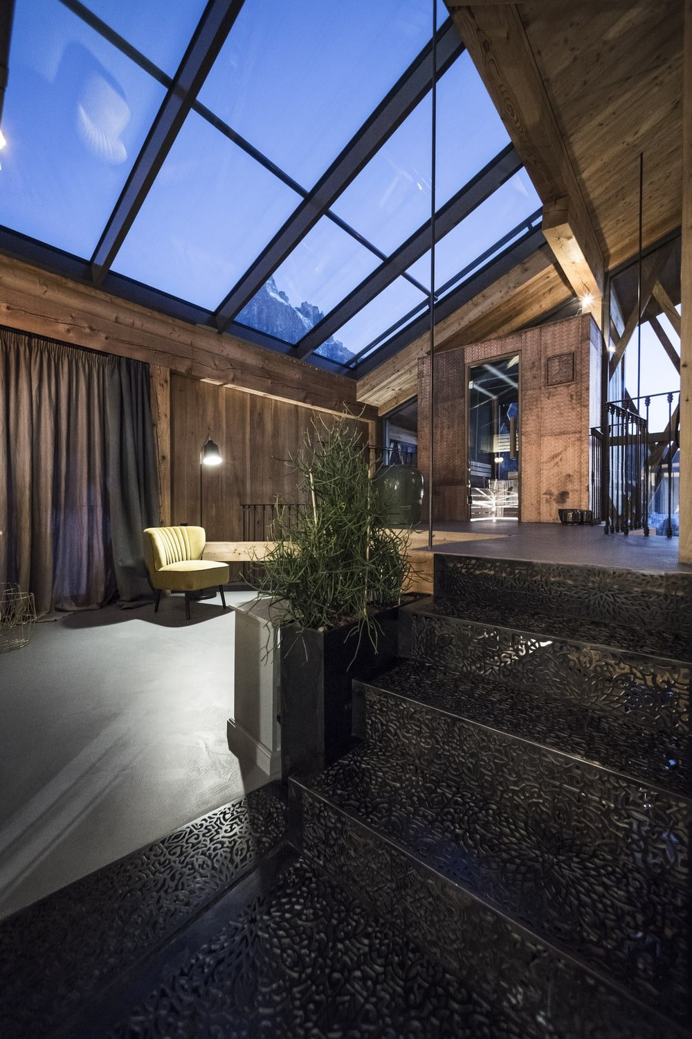 This is a view of the top floor that has a large glass skylight.