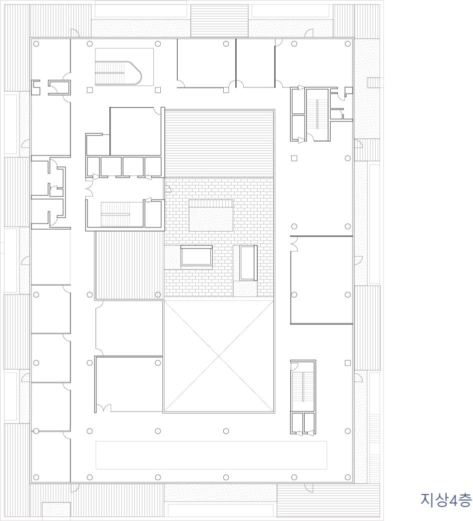 This is the illustration of the fourth level floor plan for the building.