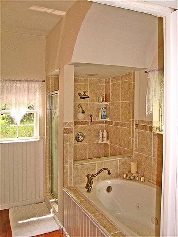 This is a view of the primary bathroom that has a glass-enclosed shower area on the far corner beside the bathtub within its own large alcove.