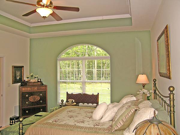 The bedroom has green walls and a large arched window on the side of the bed that is topped with a tray ceiling with a ceiling fan in the middle.