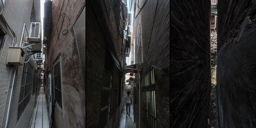 This is a view of the alleyway that leads to the main entrance of the house.