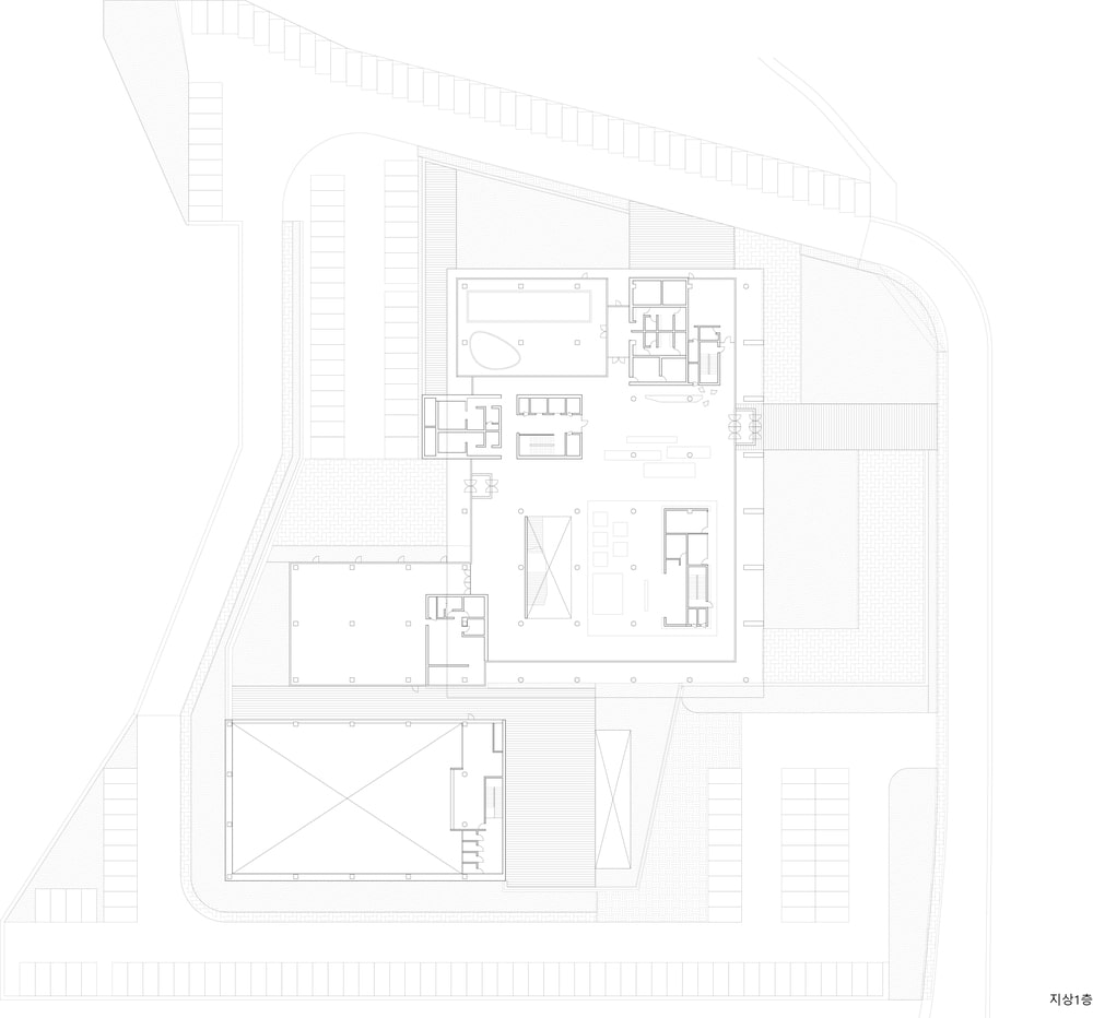 This is the illustration of the first level floor plan for the building.