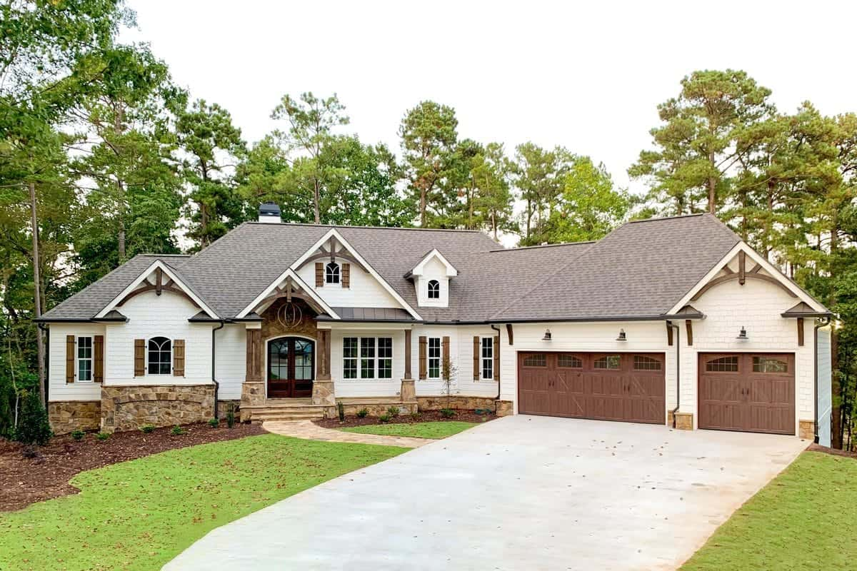 4-Bedroom Single-Story Country Craftsman Home with Angled Garage and Wet Bar