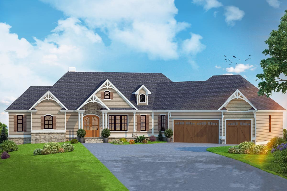 Front rendering of the 4-bedroom single-story country craftsman home.