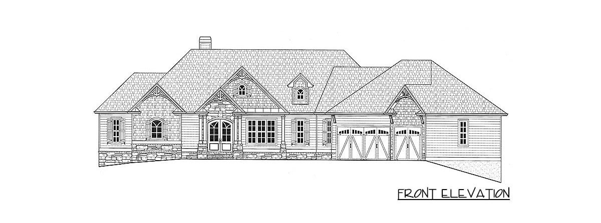 Front elevation sketch of the 4-bedroom single-story country craftsman home.