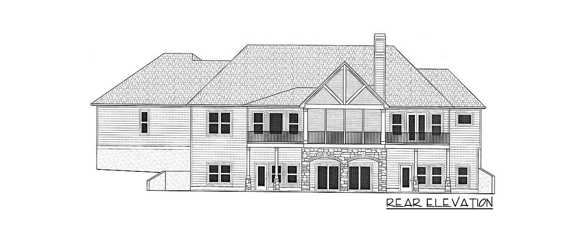 Rear elevation sketch of the 4-bedroom single-story country craftsman home.