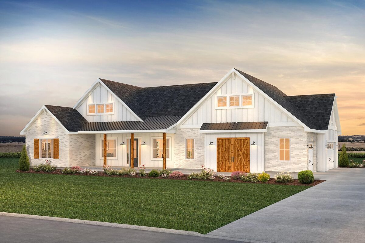 Front rendering of the 4-bedroom single-story New American farmhouse.