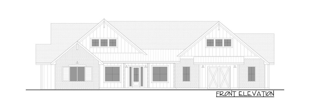 Front elevation sketch of the 4-bedroom single-story New American farmhouse.