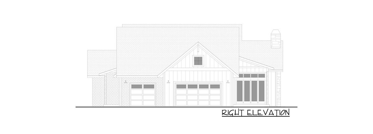 Right elevation sketch of the 4-bedroom single-story New American farmhouse.