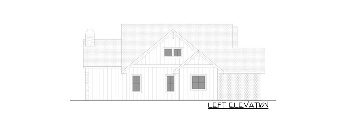 Left elevation sketch of the 4-bedroom single-story New American farmhouse.