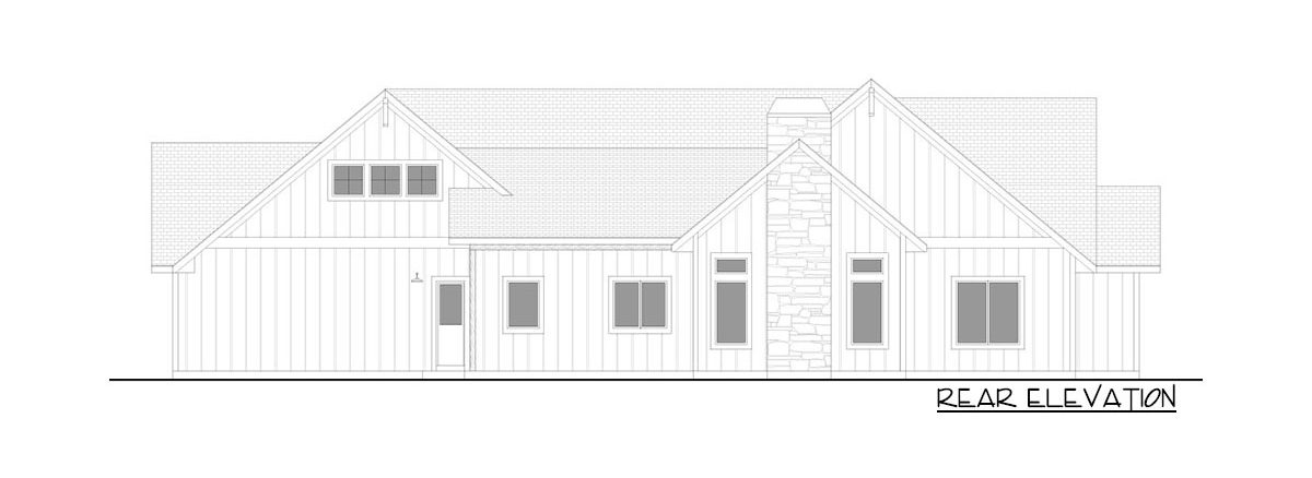Rear elevation sketch of the 4-bedroom single-story New American farmhouse.