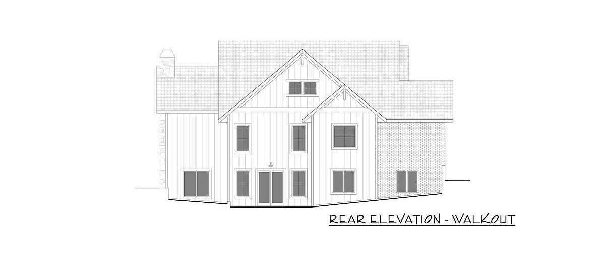 Rear elevation-walkout sketch of the 4-bedroom single-story New American farmhouse.