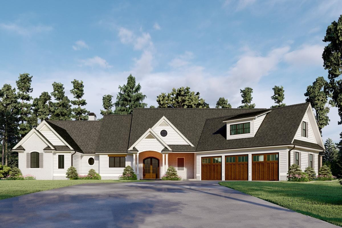 4-Bedroom Two-Story Country Home for a Wide Lot with Angled Garage