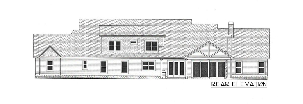 Rear elevation sketch of the 4-bedroom two-story country home.